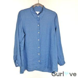 J.Jill Love linen essential button shirt Blue L